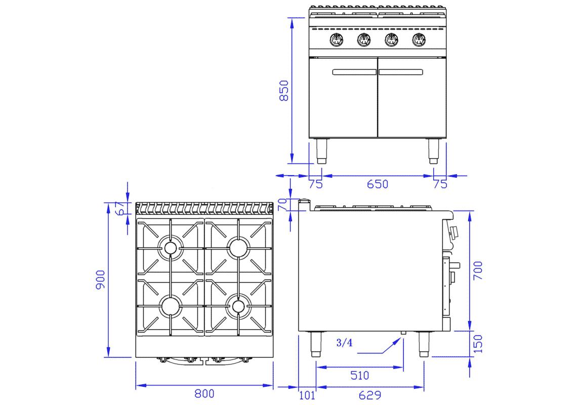 Gas 4 Burner Range With Cabinet (European burner) 6